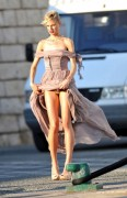Karolina Kurkova - flashing her underwear on the set of a photoshoot 07/10/12