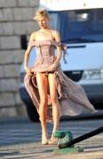 Karolina Kurkova - flashing her underwear on the set of a photoshoot 07/10/12